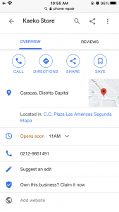 Business profile google search on phone